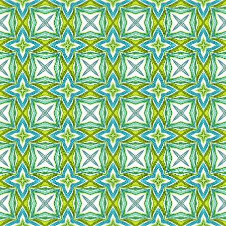 Traditional Graphic Hand Drawn Painted.  Mediterranean, South, East, Eastern Seamless Pattern. Modern Abstract. Ancient Ethnic Carpet. Blue, Green  Art. Herringbone Element. Stock Photo