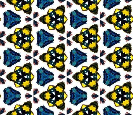 Ethnic Texture. Hand Drawn Painted. Islam, Orient, Spanish, Talavera Seamless Pattern. Ethnic Surface. Old Geo Textile. Brown, Yellow Tile. Woven Texture.