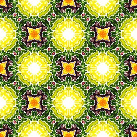 Ethnic Texture. Hand Drawn Painted. Islam, Orient, Spanish, Talavera Seamless Pattern. Geo Geometric. Traditional Ethnic Home Decor. Burgundy, Green Surface. Woven Element.