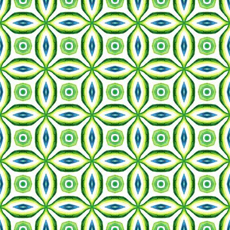 Traditional Graphic Hand Drawn Painted.  Mediterranean, Majolica, Azulejo, Portuguese Seamless Pattern. Tribal Texture. Folk Canvas. Blue, Green  Ornament. Ornamental Ornament. Stock Photo