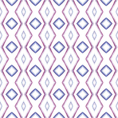Traditional Art. Hand Drawn Painted. American, Navajo, Cherokee Seamless Pattern. Traditional Surface. Ancient Cloth. Pink, Purple, Lilac Surface. Stripes Ornament. Stock Photo