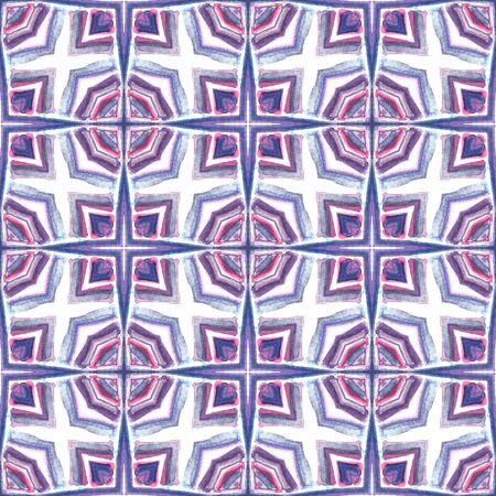 Ethnic Surface. Hand Drawn Painted. Aztec, Navajo, American, Cherokee  Seamless Pattern. Tribal Texture. Folk Rug. Pink, Purple, Lilac Ornament. Natural Art.