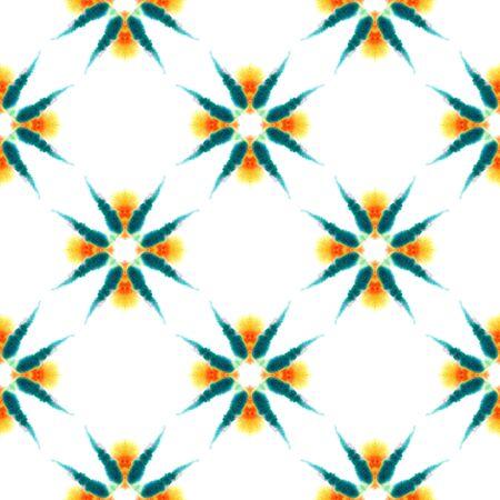 Ethnic  Art. Hand Drawn Painted. Watercolor Staining, Ikat, Tie Dye Seamless Pattern. Green, Orange Ethnic Tribal Folklore Home Decor. Geometrical Organic Tile. Stock Photo