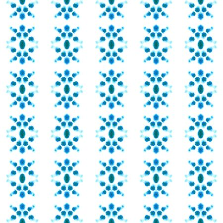 Ethnic Texture. Hand Drawn Painted. Ikat, Tie Dye, Batik, Hand Drawn Seamless Pattern. Blue, Cyan, Turquoise Old Summer Native Canvas. Chevron Geometry Texture. Stock Photo