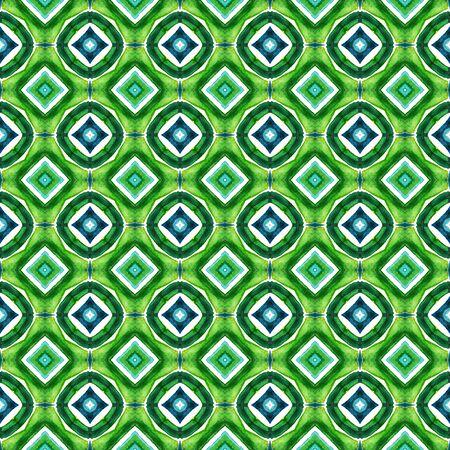 Geo Texture. Hand Drawn Painted. Mandala, Medallion, Floral, Flower Seamless Pattern. Geo Texture. Geo Folk Fabric. Blue, Green  Tile. Geometrical Motif.