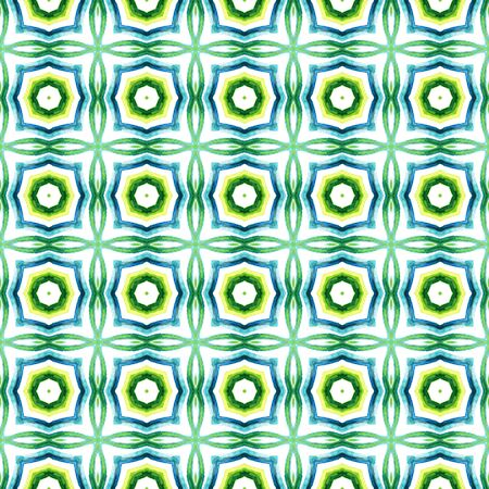 Geo Texture. Hand Drawn Painted. Talavera, Azulejos, Spain, Islam, Arabic Seamless Pattern. Chevron Geometric. Native Fabric. Blue, Green  Design. Natural Element.