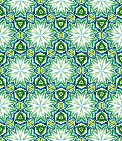 Tribal Texture. Hand Drawn Painted. Spanish, Talavera, Tunisian, Turkish Seamless Pattern. Modern Abstract. Old Geo Home Decor. Blue, Green  Texture. Chevron Watercolor.