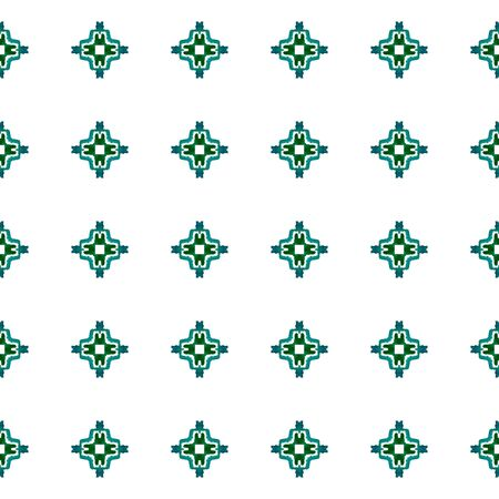 Geo Geometric, Endless Repeat Painting.  Northern, Russian, Celtic , Polish Ornament. Geo Surface. Vintage Wallpaper. Blue, Green Design. Geometry Texture. Stock Photo