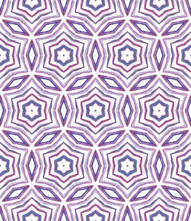 Geo Texture. Hand Drawn Painted. Tunisian, Turkish, Arab, Arabesque Seamless Pattern. Traditional Surface. Traditional Ethnic Carpet. Purple, Pink Surface. Geometric Surface. Stock Photo