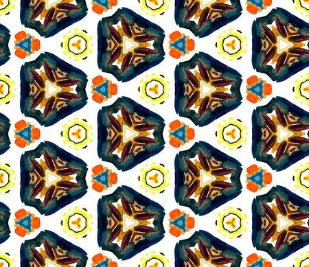 Ethnic  Art. Hand Drawn Painted. Cherokee, American, Navajo Seamless Pattern. Geo Geometric. Tribal Fabric. Green, Brown Ornament. Woven Mosaic.