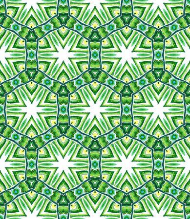 Ethnic  Art. Hand Drawn Painted. Mediterranean, Arab, Arabesque Seamless Pattern. Geo Surface. Tribal Ethnic Rug. Blue, Green  Watercolor. Chevron Texture.