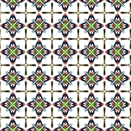 Watercolor Surface. Endless Repeat Painting.  Ottoman, Islam, Orient, Spanish  Ornament. Traditional Graphic. Ancient Native Linen. Green, Brown Print. Stripes Art.