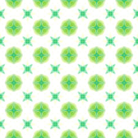 Tribal Art. Endless Repeat Painting.  Texture, Shibori, Watercolor Staining Ornament. Green, Lime, Mint Old Ethnic Tribal Canvas. Ornamental Herringbone Print.