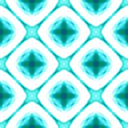Watercolor Surface. Endless Repeat Painting.  Spots, Ikat, Tie Dye, Batik Ornament. Blue, Cyan, Turquoise Old Modern Geo Embroidery. Ornamental Geometric Watercolor.