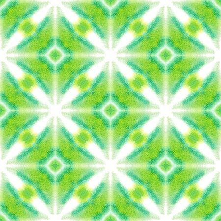 Geo Geometric, Endless Repeat Painting. Batik, Hand Drawn, Paint Texture Ornament. Green, Lime, Mint Ancient Ethnic Summer Canvas. Geometry Geometrical Design.