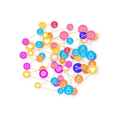 Social media marketing, Communication networking concept. Random icons social media services tags linked on white background. Comment, friend, like, share, target, message. Vector Internet concept. Banque d'images - 137804203