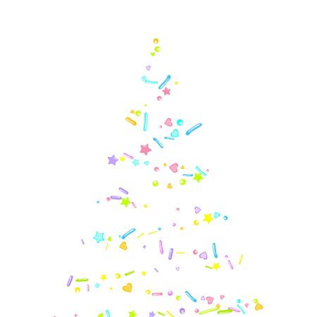 Sprinkles grainy. Cupcake donuts, dessert, sugar, bakery background. Sweet confetti on white chocolate glaze background. Vector Illustration sprinkles holiday designs, party, birthday, invitation.  イラスト・ベクター素材