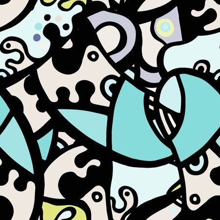 Modern Seamless Pattern.  Mint, Turquoise Summer Hand Drawn. Linear Collage. Bizarre Street Art. Creative Trendy Style. Abstract, Contrast Shape. Doodle Crazy Vector Background.