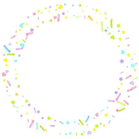 Sprinkles grainy. Cupcake donuts, dessert, sugar, bakery background. Sweet confetti on white chocolate glaze background.