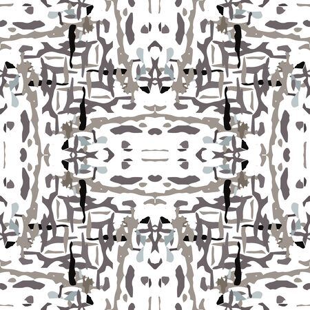 Watercolor Staining. Ikat, Tie Dye Seamless Pattern. Ethnic  Art. Hand Drawn Painted. Black Gray Traditional Summer Tribal Linen.  Natural Medallion Shibori Texture.