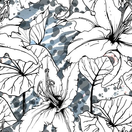 Tropical, modern motif. Black and white graphic jungle print. Summer flower on abstract shape brush line. Stock Illustratie