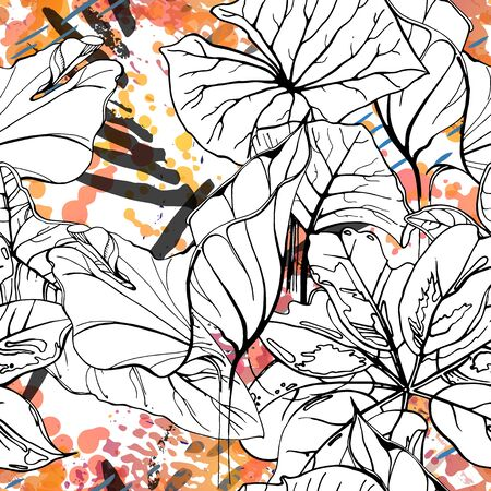 Floral Black and White Pattern. Pink Artistic Watercolor Print. Outline Flowers Seamless Surface.