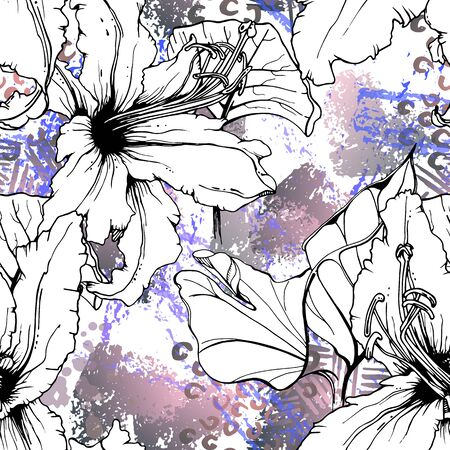 Artistic, Tropical, modern motif. Black and white graphic jungle print. Summer flower on abstract shape brush line.