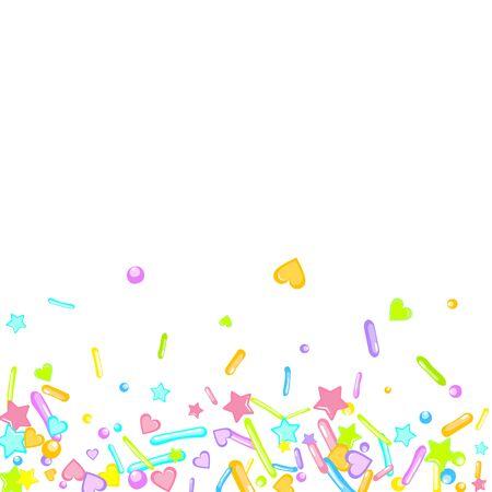 Sprinkles grainy. Cupcake donuts, dessert, sugar, bakery background. Sweet confetti on white chocolate glaze background. Vector Illustration sprinkles holiday designs, party, birthday, invitation. Çizim