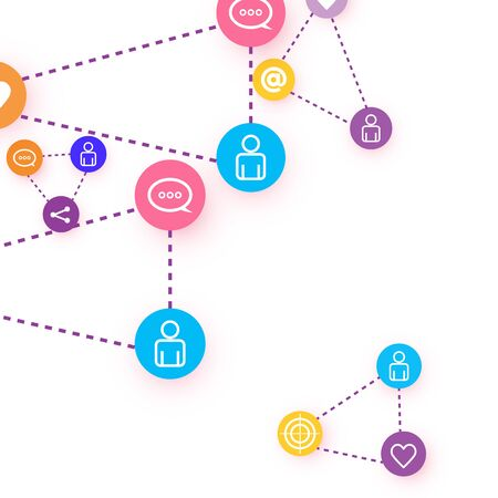 Social media marketing, Communication networking concept. Random icons social media services tags linked on white background. Comment, friend, like, share, target, message. Vector Internet concept. Stock Illustratie