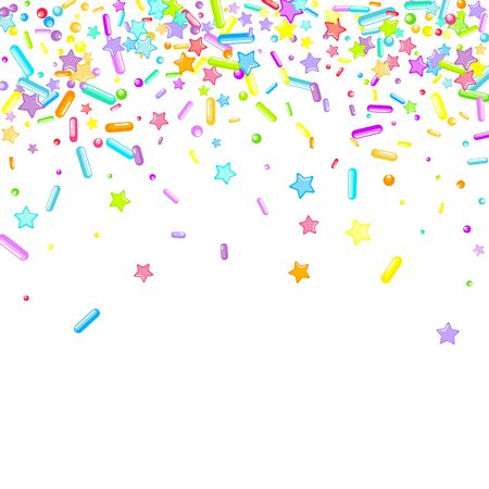 Streut körnig. Cupcake-Donuts, Dessert, Zucker, Bäckerei-Hintergrund. Süßes Konfetti auf weißem Schokoladenglasurhintergrund. Vector Illustration besprüht Feiertagsentwürfe, Party, Geburtstag, Einladung. Vektorgrafik