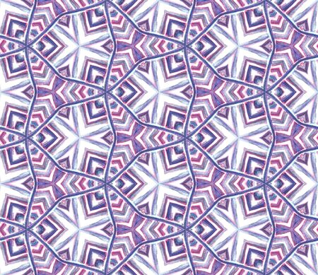 Ethnic Texture. Hand Drawn Painted. Mexican, Navajo, American, Cherokee Seamless Pattern. Geo Geometric. Ancient Home Decor. Pink, Purple, Lilac Ornament. Graphic Print.