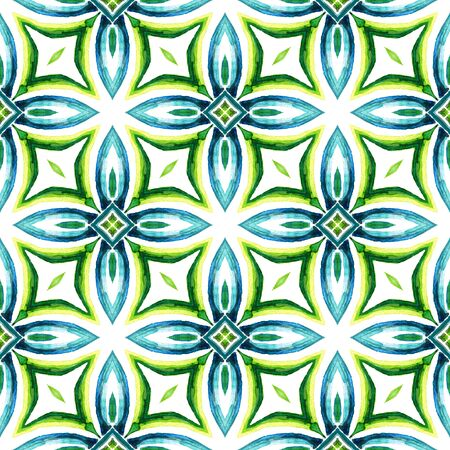Geo Surface. Endless Repeat Painting.  Hippie, Boho, Gypsy, Mediterranean Ornament. Ethnic Surface. Old Vintage Home Decor. Blue, Green  Tile. Ornamental Design. 免版税图像