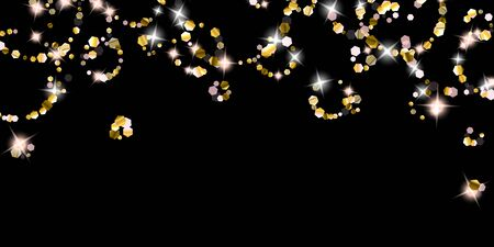 Gold Glitter Stars. Luxury Shiny Confetti. Scattered little sparkle. Flash glow silver element. Random magic tiny light. Hexagon stellar fall black background. New Year, Christmas Vector illustration. 向量圖像