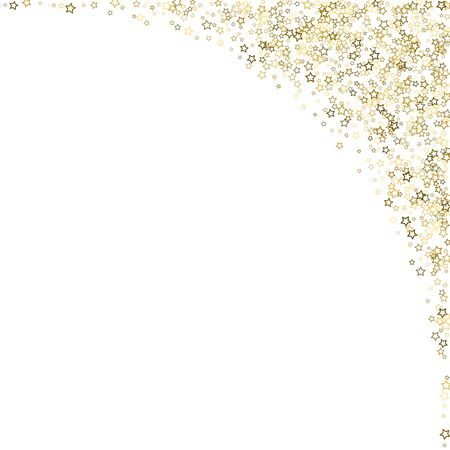 Gold Glitter Stars. Luxury Shiny Confetti. Scattered little sparkle. Flash glow silver, elements. Random magic tiny light. Gold stellar fall white background. New Year, Christmas Vector illustration. 向量圖像