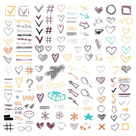 Set chalk vector textures. Collection hand drawn elements. Dirty Grunge Pastel pencil. Hearts, stars, hash tag, stripes, brushes, scribble, check marks. Smear Crayon pencil strokes symbols background. Banque d'images - 139595820