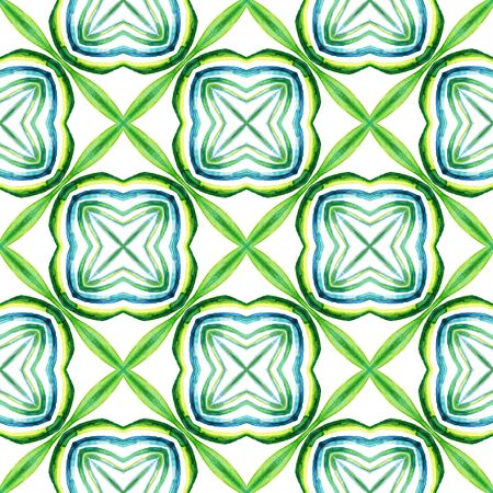 Geo Texture. Hand Drawn Painted. Tunisian, Turkish, Arab, Arabesque Seamless Pattern. Modern Abstract. Ethnic Geo Canvas. Blue, Green  Tile. Geometry Watercolor. 免版税图像