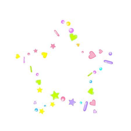 Espolvorea granulada. Donuts de cupcake, postre, azúcar, fondo de panadería. Confeti dulce sobre fondo de glaseado de chocolate blanco. Ilustración vectorial rocía diseños de vacaciones, fiesta, cumpleaños, invitación.
