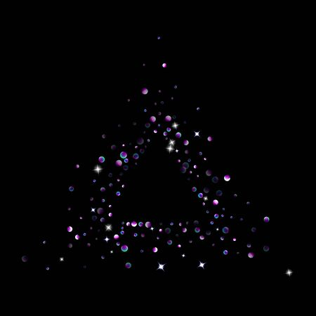 Purple glitter elements, stars shiny confetti. Scattered little, sparkling, flashing ultra violet, Random tiny stellar falling on black background. New Year, Christmas background. Vector illustration. Foto de archivo - 139786078