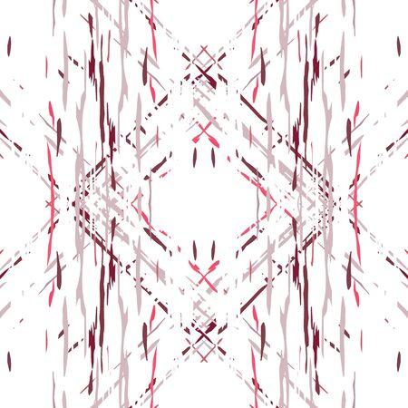 Texture, Shibori. Watercolor Staining Ornament. Tribal Art. Endless Repeat Painting.  Red Maroon Traditional Old Vintage Wallpaper  Geometry Geometric Ikat  Motif. Illusztráció