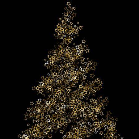 Gold Glitter Stars. Luxury Shiny Confetti. Scattered little sparkle. Flash glow silver, elements. Random magic tiny light. Gold stellar fall black background. New Year, Christmas Vector illustration. Foto de archivo - 139786376