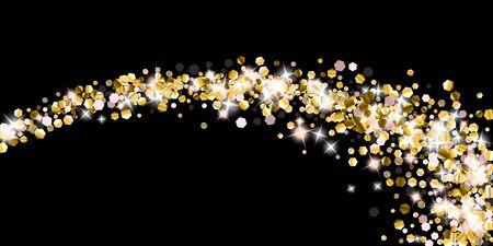 Gold Glitter Stars. Luxury Shiny Confetti. Scattered little sparkle. Flash glow silver element. Random magic tiny light. Hexagon stellar fall black background. New Year, Christmas Vector illustration. Foto de archivo - 139786459