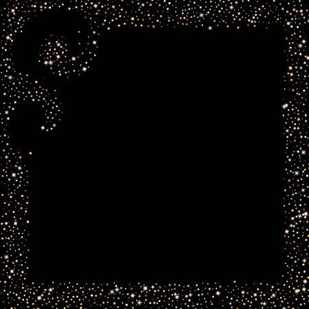 Gouden glitter sterren. Luxe glanzende confetti. Verspreid kleine schittering. Flash gloed zilveren element. Willekeurig magisch klein licht. Zeshoek stellaire val zwarte achtergrond. Nieuwjaar, Kerstmis Vector Illustratie.