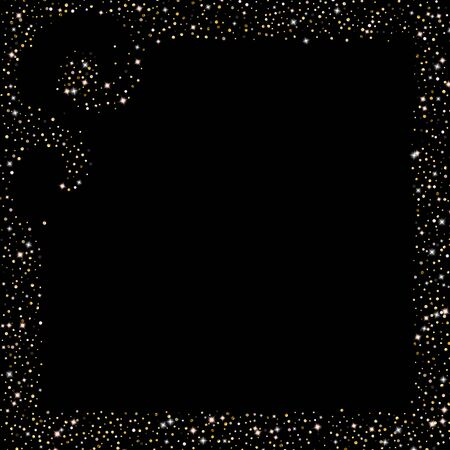 Stelle glitterate d'oro. Coriandoli lucidi di lusso. Piccola scintilla sparsa. Elemento d'argento bagliore flash. Piccola luce magica casuale. Fondo nero di caduta stellare di esagono. Anno nuovo, illustrazione di vettore di Natale.