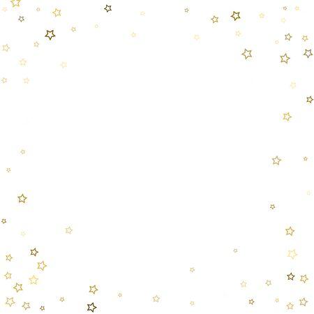 Gold Glitter Stars. Luxury Shiny Confetti. Scattered little sparkle. Flash glow silver, elements. Random magic tiny light. Gold stellar fall white background. New Year, Christmas Vector illustration. Foto de archivo - 139808870