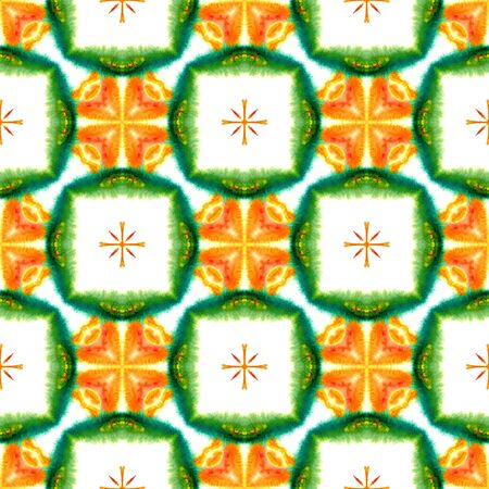 Ethnic  Art. Hand Drawn Painted. Arabesque, East, Eastern, Oriental Seamless Pattern. Ethnic Texture. Traditional Old Carpet. Green, Orange Surface. Geometric Texture. Фото со стока