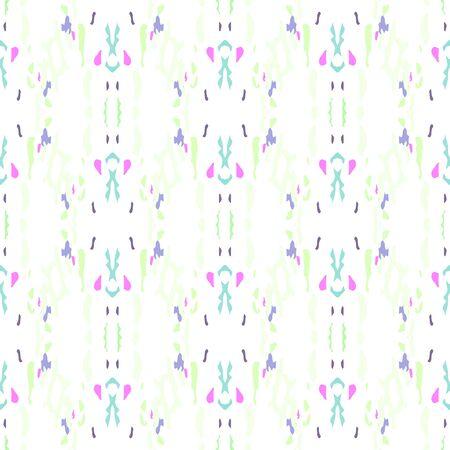 Ikat, Tie Dye. Batik, Hand Drawn Seamless Pattern. Ethnic Texture. Hand Drawn Painted. Pink Mint Modern Vintage Ethnic Home Decor. Ornamental Geometrical Shibori Design.