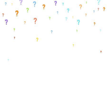 Question marks scattered on white background. Quiz, doubt, poll, survey, faq, interrogation, query background. Multicolored template for opinion poll, public poll. Rainbow color.