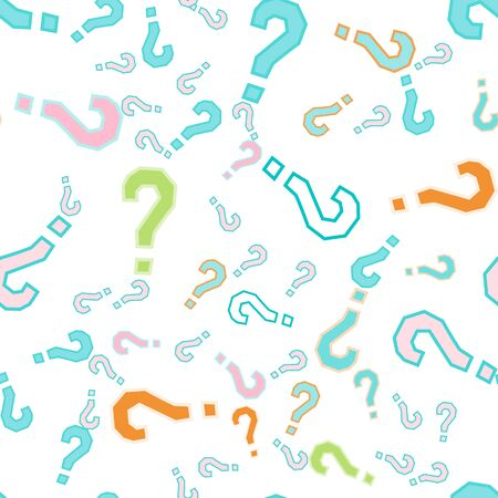 Quiz seamless pattern. Question marks, doubt, faq background. Simple endless repeating motif.