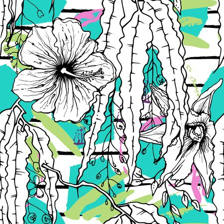 Tropical, stripe, animal motif. Seamless pattern line and crackle textures. Modern summer flower, leaf on abstract shape brush. Tropic vector background. Watercolor blobs stripe daubs, ink and stains.