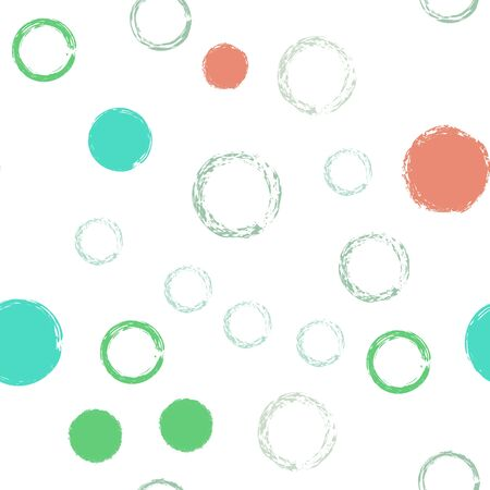 Black Brush Circle. Vector Seamless Pattern. Bright Decor. White Abstract Background With Watercolor Fall Chaotic Shapes. Simple Artistic Textile. Chalk Brush Rounds, Confetti.
